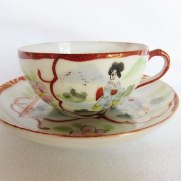 Japanese Geisha Porcelain Small Teacup and Saucer