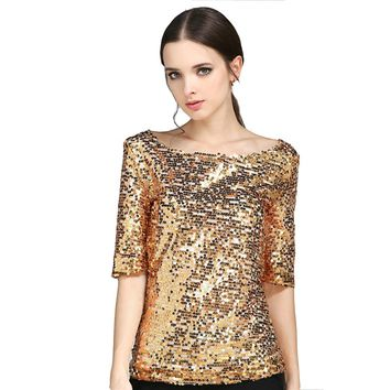 New Half Sleeve Slash Neck Sequins Mesh Sexy Slim T-shirt Women Plus Size S-5XL Tee Shirts Silver Gold Black Casual Tops