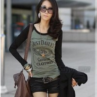 Cotton Long Sleeve Stitching Round Neck Letters Casual T-shirt Blouse Tops Women
