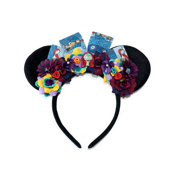 Sally Mouse Ears Headband, Flower Mouse Ears, Sally Costume, Mickey Ears Headband, Minnie Ears Headband, Nightmare Before Christmas