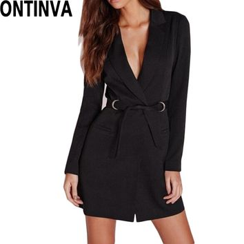 Women Spring Fashion Blazer Dresses Office Lady Sexy Wear to Work Suit Dress Black Slim Outwear Dress Long Sleeve V Neck
