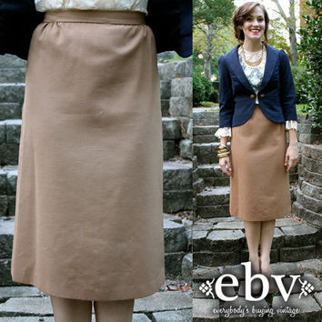 Vintage 60's Camel Structured Fitted Bombshell Knee Skirt