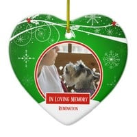 In Loving Memory Pet Red Green Christmas Heart Ceramic Ornament