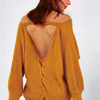 Cupshe Open Your Back Lace Up Knitting Sweater