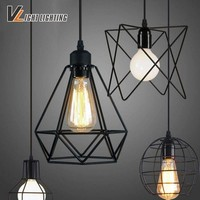 Vintage indoor lighting Retro iron painted pendant light 16 Variety iron cage lampshade  American Country style light fixture