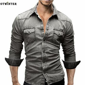Tide brand men's slim long-sleeved shirt denim shirt  grey