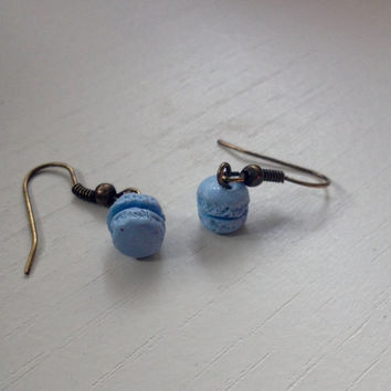 Cute blueberry polymer clay macaron dangle earrings