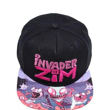 Licensed cool Invader Zim Snapback Ball Cap Hat Gir Alien Bacon Soap Pink Letters Nickelodeon