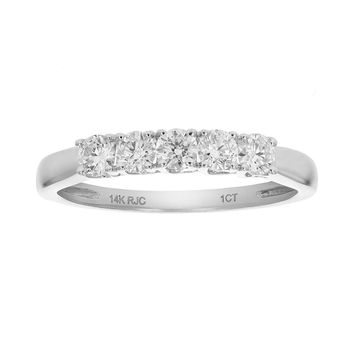 AGS Certified 0.46 Carats 1/2 CT 5 Stone I1 Diamond Ring 14K White Gold
