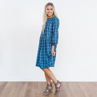 Thompson Plaid Dress - Denim | Called To Surf