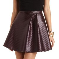 Quilted Faux Leather Skater Skirt by Charlotte Russe - Plum