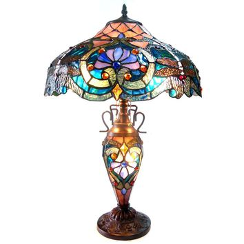 """LYDIATiffany-style 3 Light Victorian Double Lit Table Lamp 17"""" Shade"""