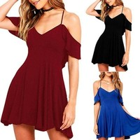 Women Dress Evening Party Cocktail Summer Boho Short Mini Beach Dresses Sundress