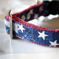 Denim Star Patchwork Dog Collar