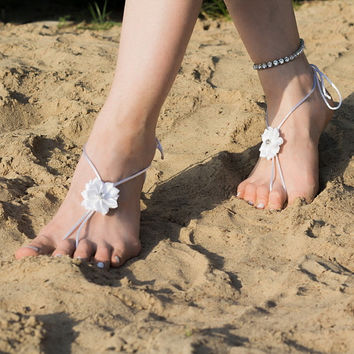 White Barefoot Sandal, Beach Wedding Shoes, Bare Foot Sandals, Destination Wedding, Nude Footless Shoes, Foot Jewelry, Sandles, Yoga Anklets