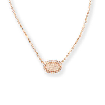 Kendra Scott Chelsea Drusy and Crystal Rose Gold Plated Necklace