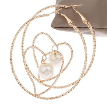 Gold color plated Brass Hoop Earring ABS Plastic Pearl Heart flower cut nickel lead & cadmium free 58x63x12mm