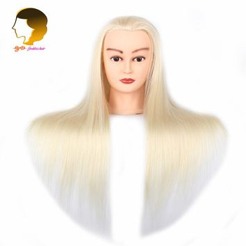 Blonde Training Mannequin Head With Synthetic Hair To Practice Head Hairdressing Doll Head Hair Styling Dummy For Hairstyles
