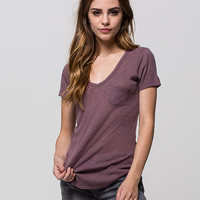 FULL TILT Womens Ribbed Pocket Tee | Knit Tops & Tees