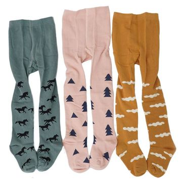 INS Hot Korean Style Fashion Cloud Tree Horse Pattern Baby Tights Pantyhose Tights For Grils Warm Tights Winters 0-4T