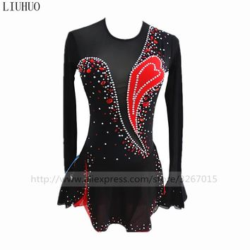 Figure Skating Dress Women Girls Ice Skating Dress Red and black collocation Round collar long sleeved style Fine drill