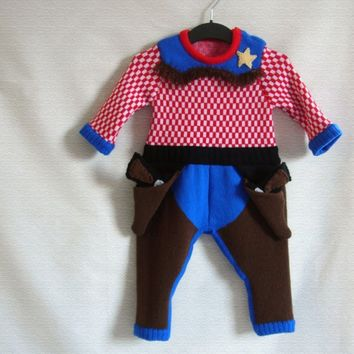 Handmade Knitted Cowboy Babygrow by TheMiniatureKnitShop on Etsy