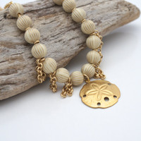 BEACH JEWELRY, Rustic Ivory and Gold Necklace by Cheydrea