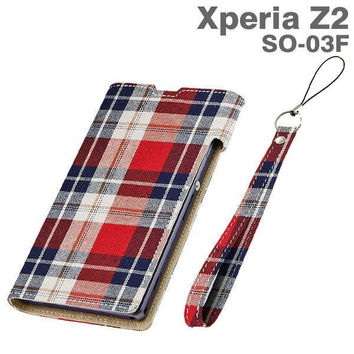 Flap-Type Leather-Style Case for Xperia Z2 (Red Check)