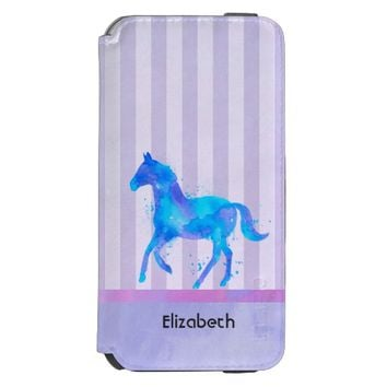 Horse in Blue and Purple Watercolor Personalized iPhone 6/6s Wallet Case