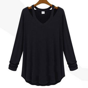 'The Jael' Solid Color Curved Hem Pullover Sweater