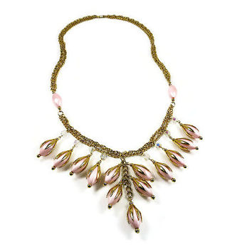 Pink Lucite Necklace Glass Bead Triple Gold Chain Long Fringe Statement Jewelry
