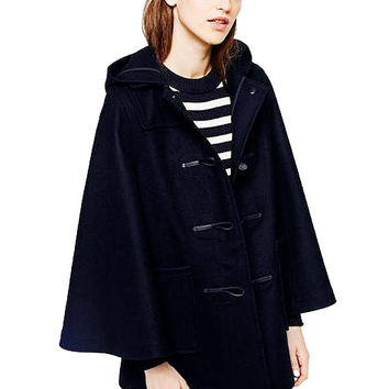 Navy Blue Cape Poncho Coat