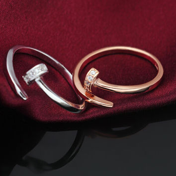 925 sterling sliver two colors nail ring,personalized fashion nail ring earrings,a perfect gift