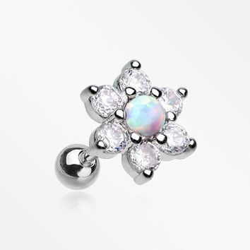 Spring Flower Multi-Gem Fire Opal Sparkle Cartilage Tragus Barbell