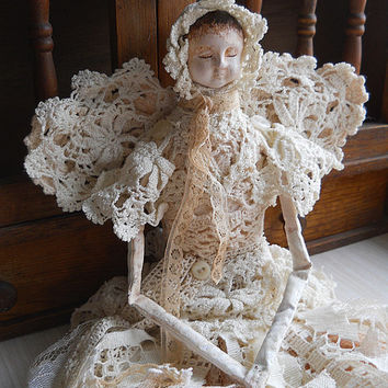 Ready to Ship! Ooak Angel Art Doll, Handmade of Paper Clay, Fabric Body, Vintage Lace and Crochet