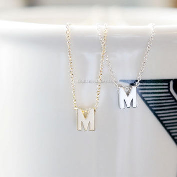 Uppercase Initial Necklace (Silver) - personalized monogram necklace, bridesmaid necklace, Silver uppercase initials