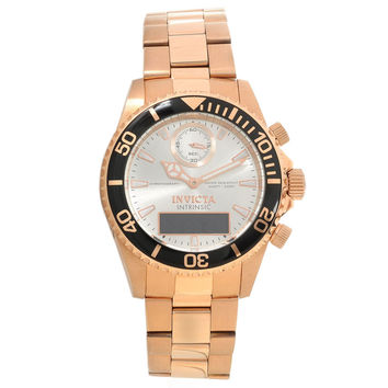 Invicta 12474 Men's Pro Diver Intrinsic Ana-Digi Silver Dial Rose Gold Steel Chronograph Dive Watch