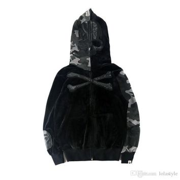 Men's Skeleton Bones Camouflage Stitch Hoodies Lover Hooded Cardigan Hoodie Jacket Couple Personality Street Dark Wind Fashion Jacket