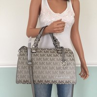 NEW! MICHAEL KORS Grey MK Signature Large Satchel Tote Shoulder Crossbody Purse
