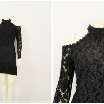 SALE Vintage Dress 90s Bodycon Stretch Lace High Neck Backless Shoulder Cut Out Sequin Trim Modern Size 7 Modern Medium to Large