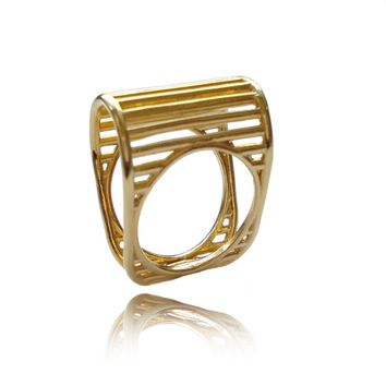 Gold Lines Ring, Wired Ring, Architecture linear Gold Ring, Geometric Ring