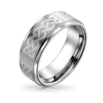 Celtic Infinity Love Knot Wedding Band Tungsten Ring For Men Matte 7MM