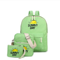 Three-piece shoulder bag large capacity canvas backpack travel bag female college wind high junior high school student bags