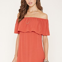 Off-the-Shoulder Crepe Dress