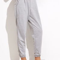 Grey Elastic Waist Pocket Pants