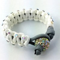Paracord Bracelet - White Paracord Survival Bracelet, Clear AB Rhinestone Studs and a Pave Bead Clasp