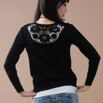 Casual Cardigan Lace Back