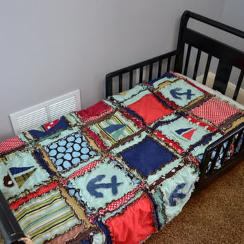 RAG QUILT, Vintage Nautical in Red, Green, and Blue, Toddler Bed Size for Baby Boy, Made to Order