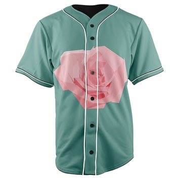 Pink Rose Button Up Baseball Jersey