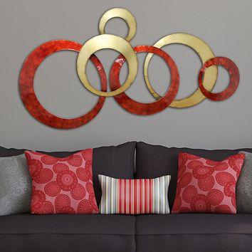 Stratton Home Decor Interlocking Circles Wall Decor (Red Gold)